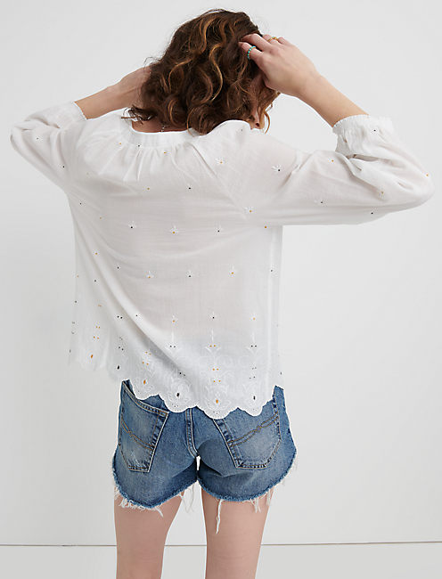 EYELET SCALLOPED EDGE PEASANT TOP,