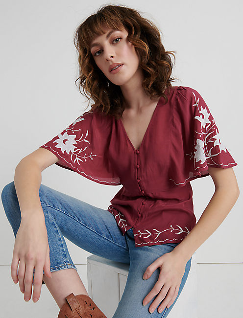 EMBROIDERED SLEEVE TOP, MAROON