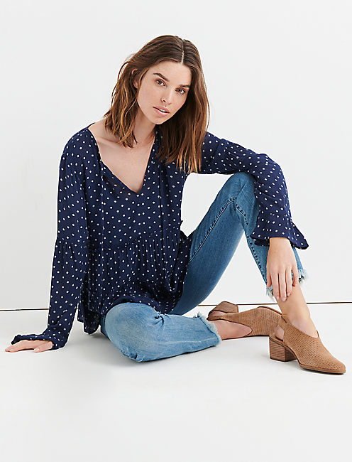 POLKA DOT PEASANT TOP, NAVY MULTI