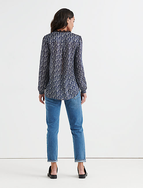 PRINTED EMBROIDERED POPOVER, NAVY MULTI