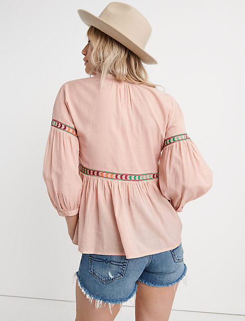 EMBROIDERED PEASANT TOP, PEACH MULTI