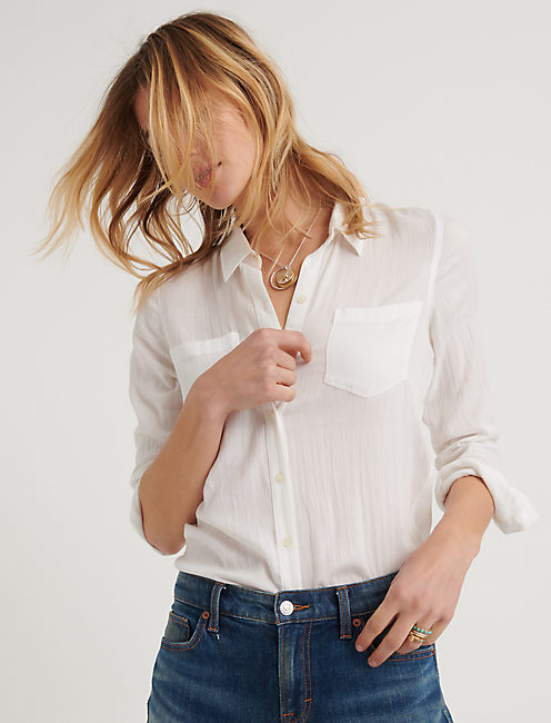 KEY ITEM COLLARED SHIRTING, LUCKY WHITE