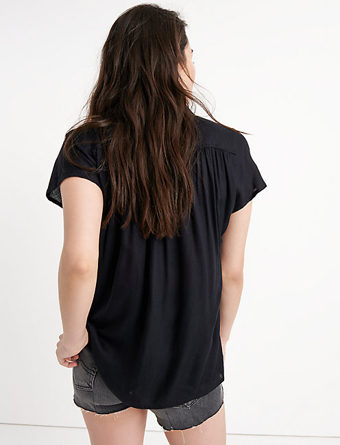 SOLID SHORT SLEEVE TOP, 001 LUCKY BLACK