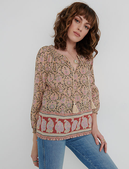 PAISLEY BORDER PRINT PEASANT TOP, PINK MULTI