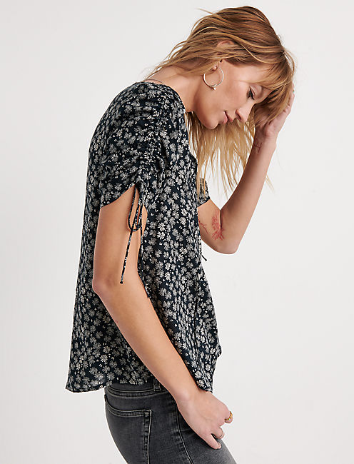 Printed Tie Sleeve Top
