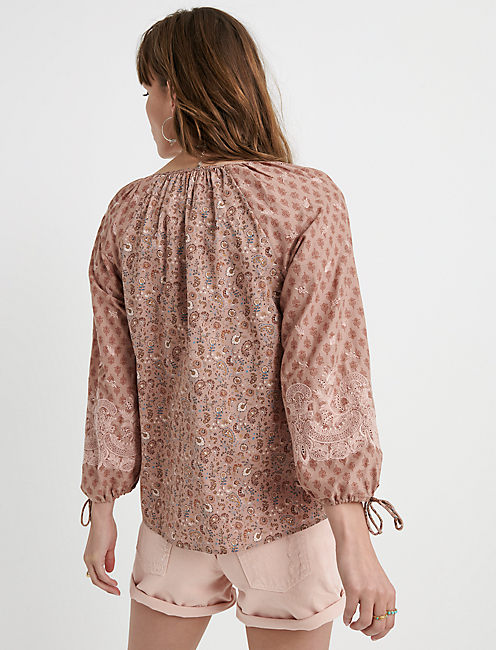 PRINTED VIVIENNE TOP, TAN MULTI