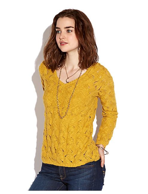 FELICITY OPEN STITCH, YELLOW MOSS