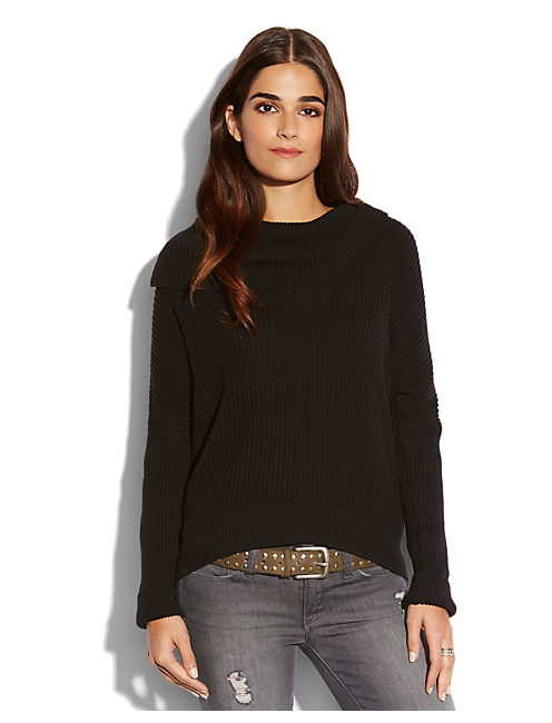 VERONA COWL NECK SWEATER, #001 BLACK