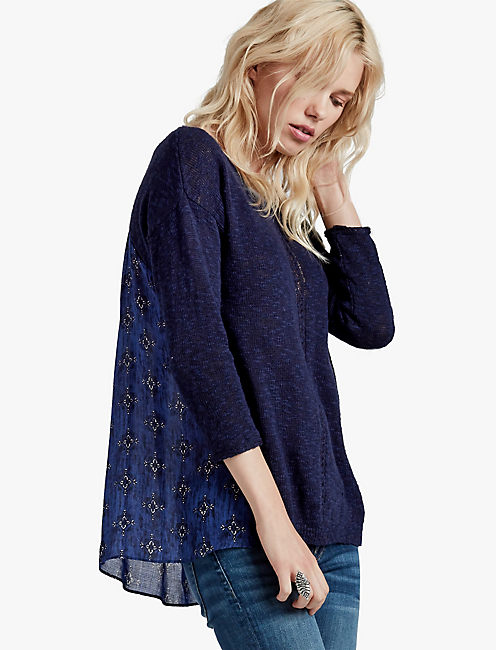 WOVEN BACK SWEATER,