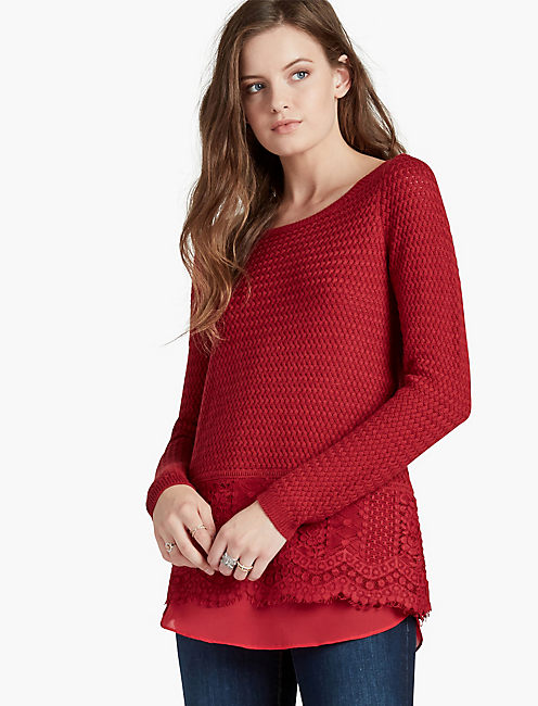 LACE MIX SWEATER, RIO RED