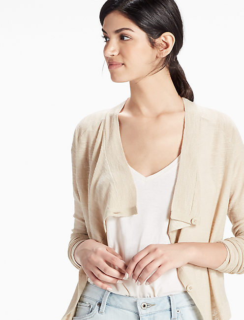 LINEN DRAPE CARDIGAN, FEATHER GREY