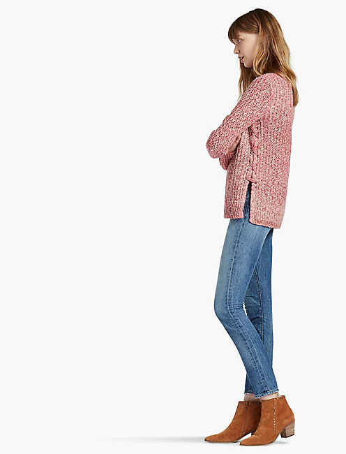 OMBRE LACE UP PULLOVER,