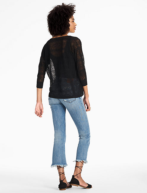 LILY LACE UP PULLOVER, 001 LUCKY BLACK