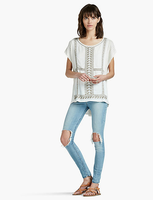 EMBROIDERED SWEATER PONCHO, WHISPER WHITE