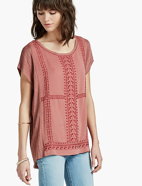 EMBROIDERED SWEATER PONCHO, WITHERED ROSE