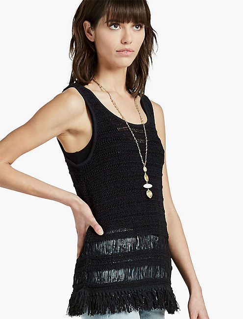 FRINGE SWEATER TANK, JET BLACK