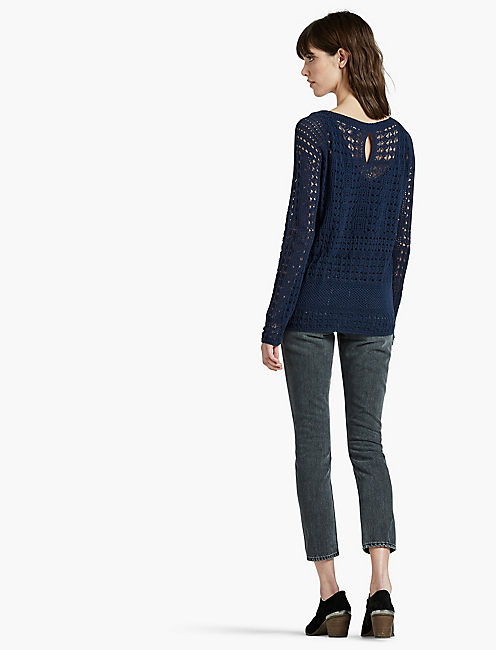 ALL OVER STITCH PULLOVER, AMERICAN NAVY