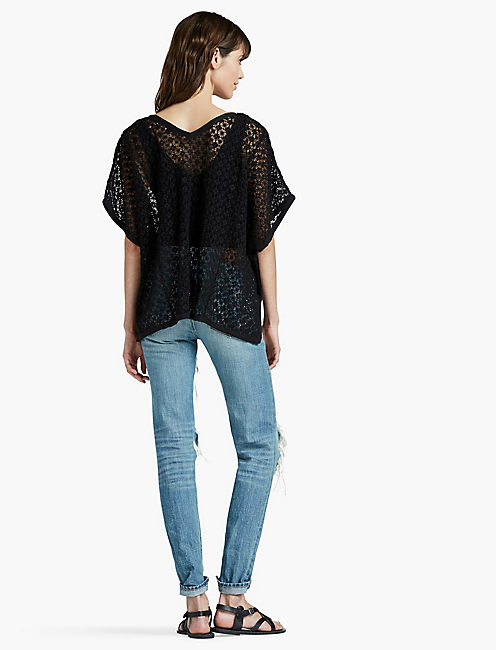 SWEATER LACE PONCHO, 001 LUCKY BLACK