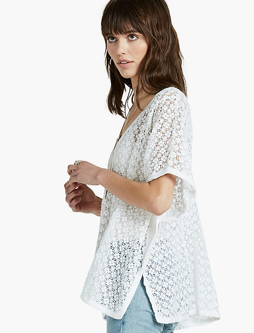 SWEATER LACE PONCHO, LUCKY WHITE