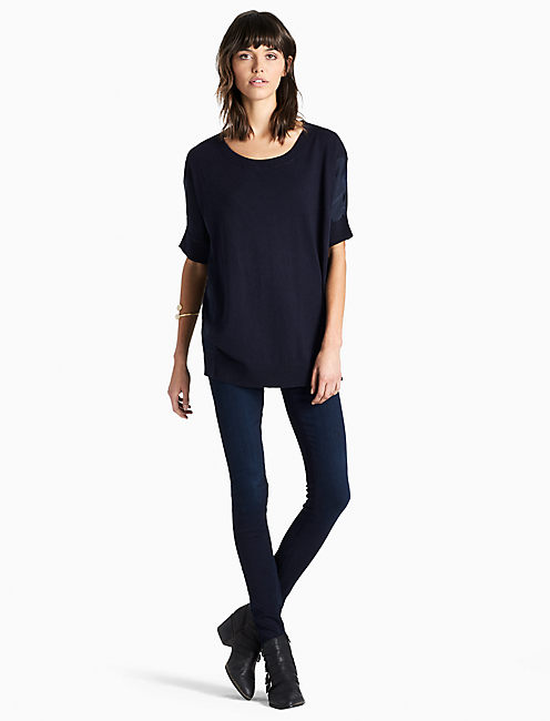 PULLOVER WITH WOVEN FABRIC,