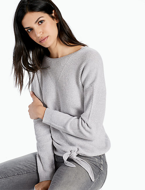 TIE FRONT SWEATER, HEATHER GREY
