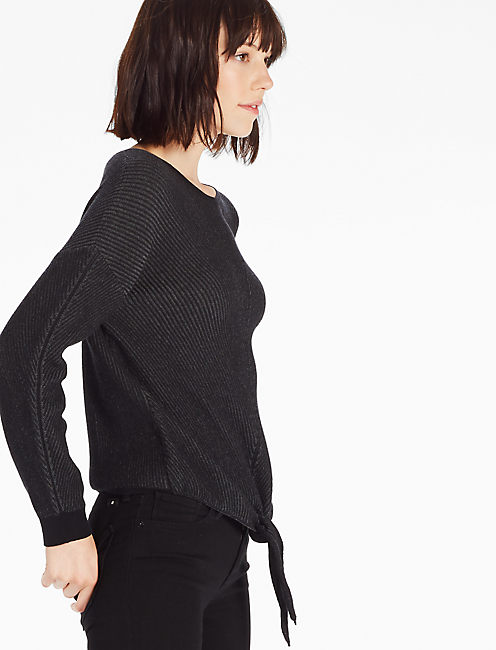 TIE FRONT SWEATER, BLACK MULTI