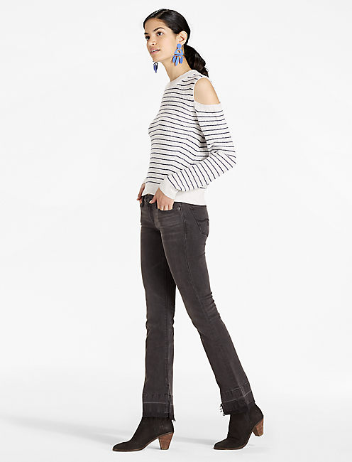 Lucky Stripe Cold Shoulder Pullover