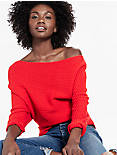 OFF SHOULDER SWEATER, SPICY RED