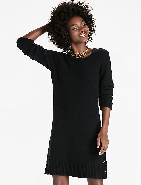 Lace Up Detail Sweater Dress, 001 LUCKY BLACK