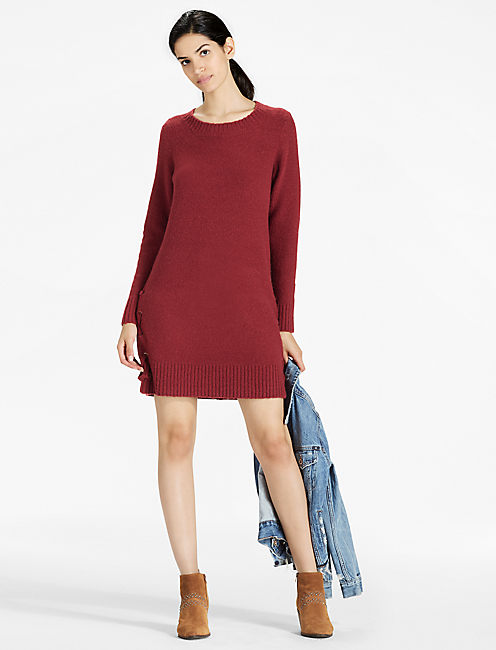 Lace Up Detail Sweater Dress, RUST