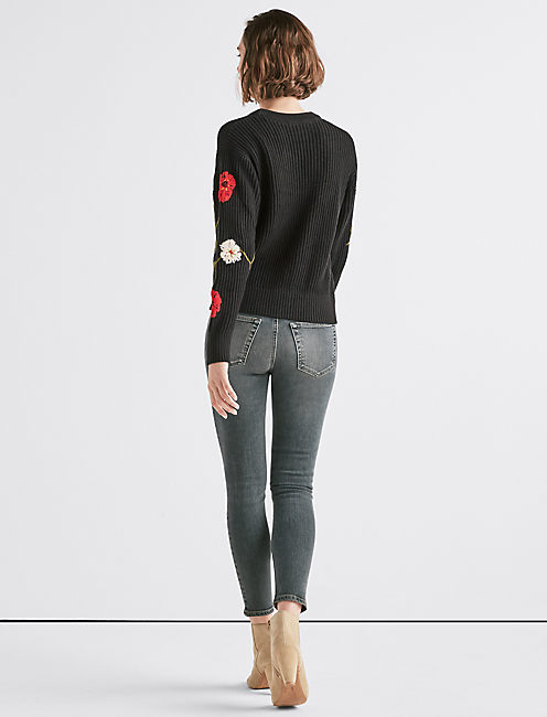 FLORAL EMBROIDERED SWEATER,