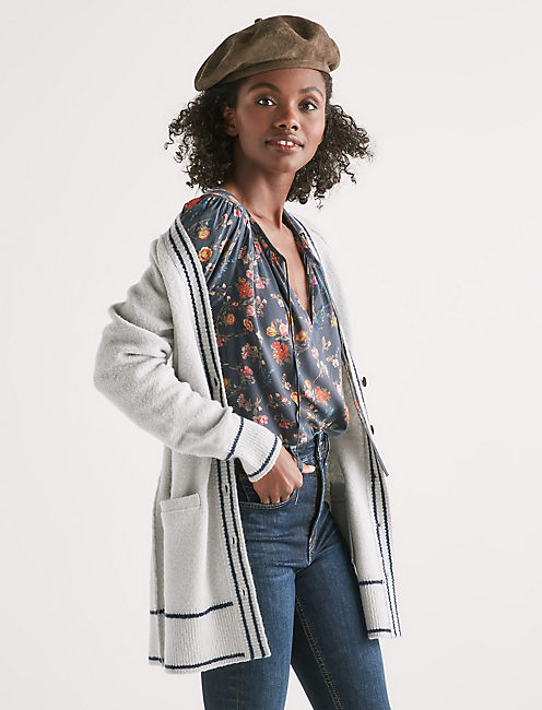 lucky button front cardigan - Womens Christmas Sweaters