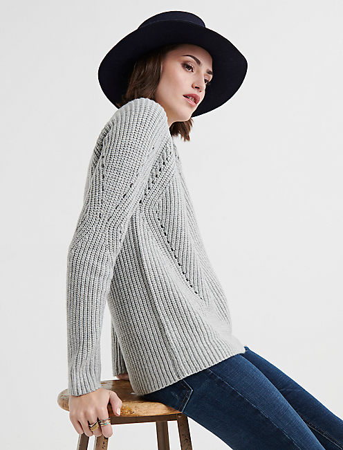 Lucky Crew Neck Pointelle Sweater