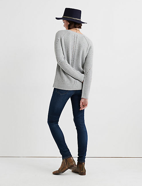 CREW NECK POINTELLE SWEATER, HEATHER GREY