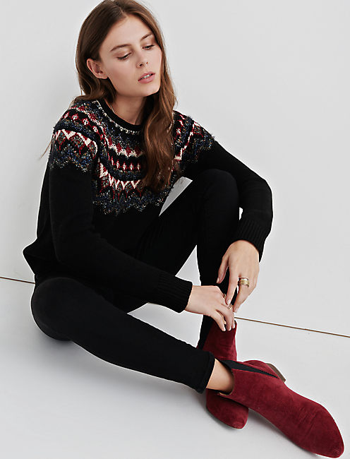 FAIR ISLE PULLOVER, BLACK MULTI