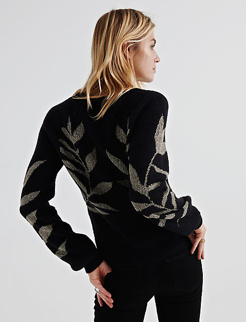 Lucky Metallic Leaf Pullover
