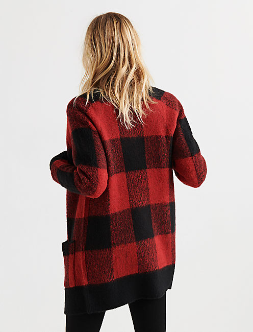 BUFFALO PLAID CARDIGAN, RED MULTI