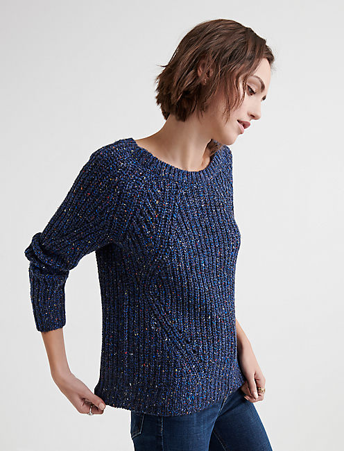 Lucky Marled Crew Neck Pointelle Sweater