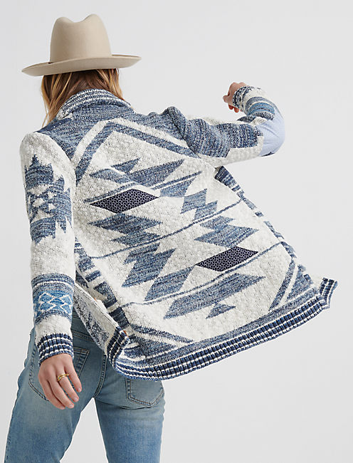 JACQUARD PATCH CARDIGAN, BLUE MULTI