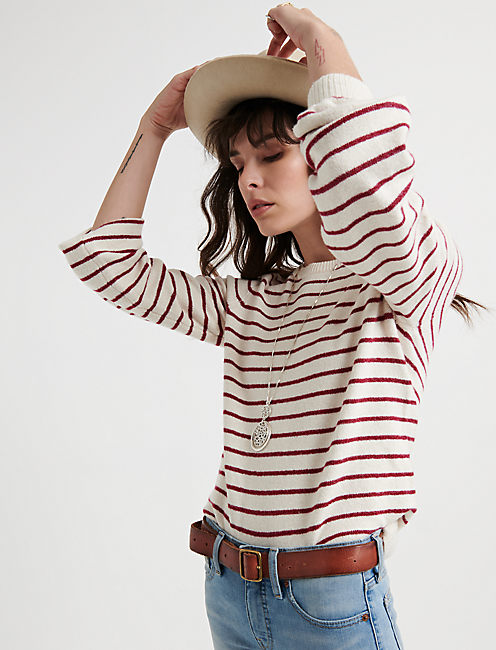 STRIPE TIE BACK PULLOVER, RED MULTI