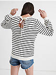 STRIPE TIE BACK PULLOVER, CREAM MULTI