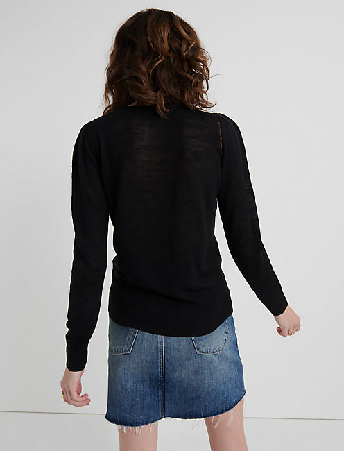MIXED STITCH PULLOVER, 001 LUCKY BLACK