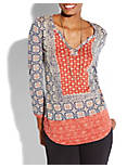 PLACED SCARF TOP, MULTI