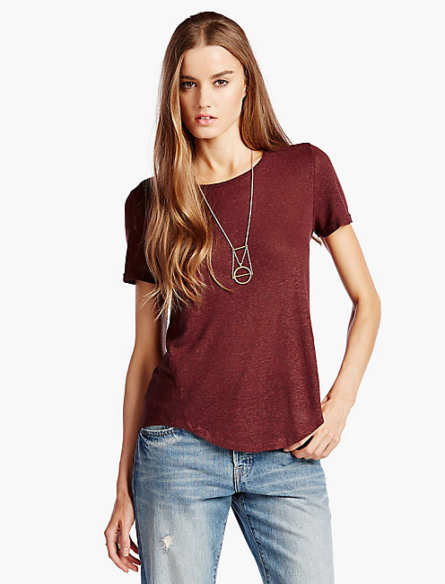 LINEN HEATHER TEE, LUXE BURGANDY