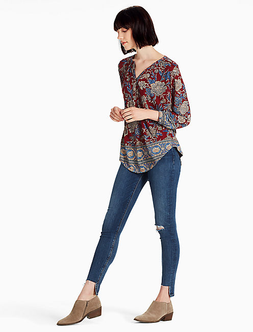 BURGUNDY FLORAL TOP, RED MULTI