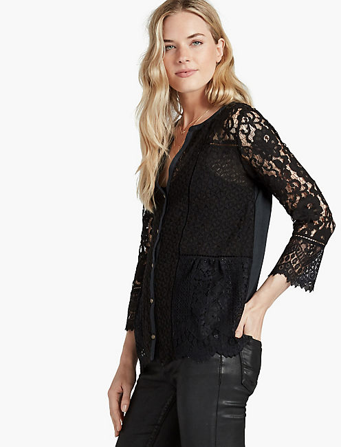 LACE MIX TOP, JET BLACK