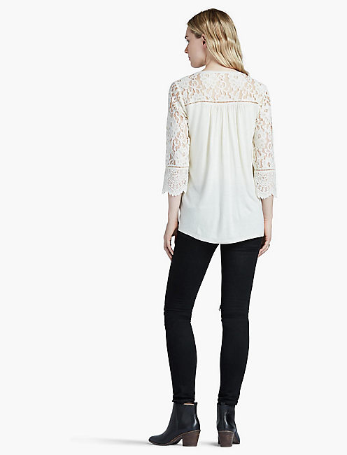 LACE MIX TOP, BIRCH
