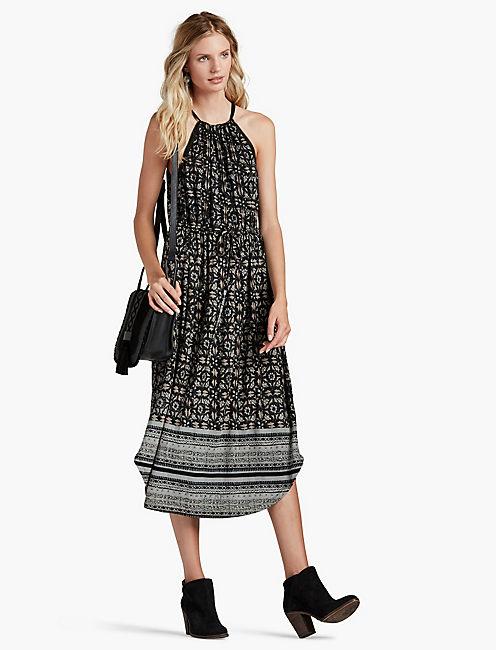 BLOCK FLORAL DRESS,