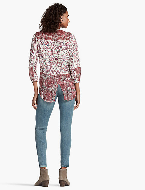 WOVEN MIXED FLORAL TOP,