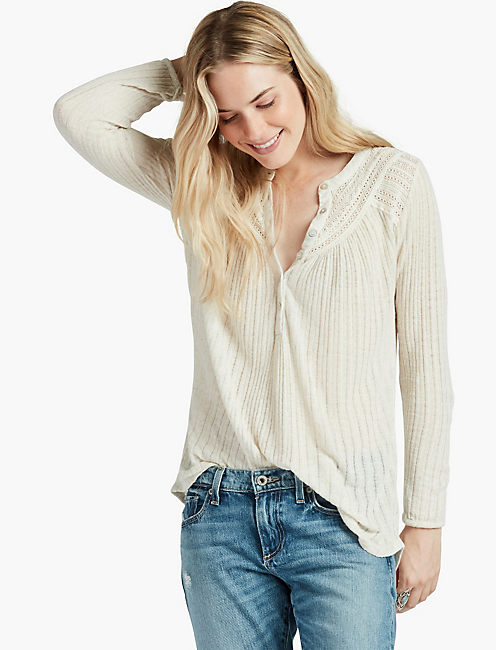 LACE HENLEY THERMAL, MARSHMALLOW